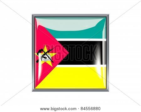 Square Icon With Flag Of Mozambique