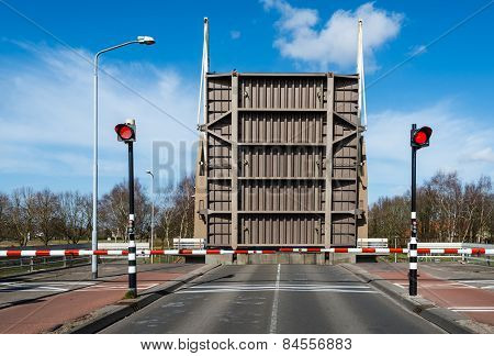 Opened Drawbridge Across A Canal