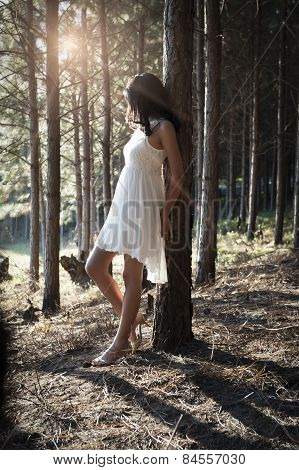 Young beautiful Indian woman in white dress leaning against tree in forest