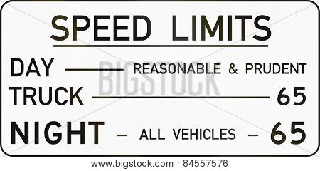 Speed Limits Table