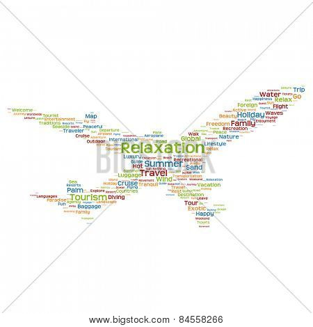 Concept or conceptual colorful plane silhouette travel tourism text word cloud tagcloud isolated on background, metaphor to vacation, family, summer, transport, fun, leisure, worldwide cruise