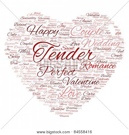 Cncept or conceptual red wordcloud text in shape of heart symbol isolated on white background, metaphor to love, romance, passion, romantic, emotion, marriage, valentine, desire or affection