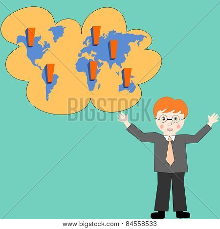 Business Man Thinking About Business Development Worldwide