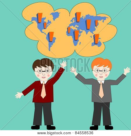 Business People Think About Business Development Worldwide