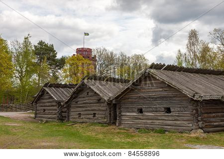 typical swedish  wooden houses - farmhouse yard, stockholm
