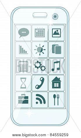 Phone stylish menu with icons, vector illustration
