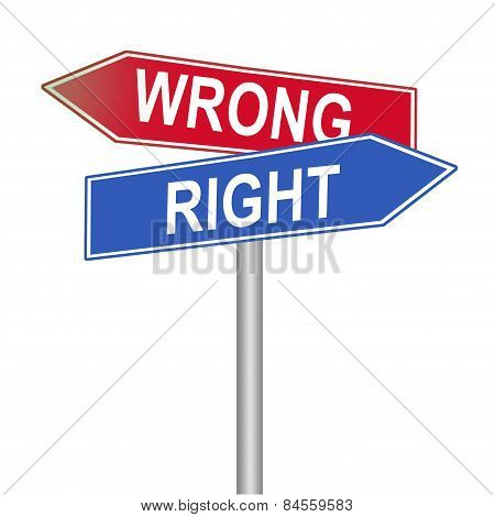 Right and wrong street signs, isolated