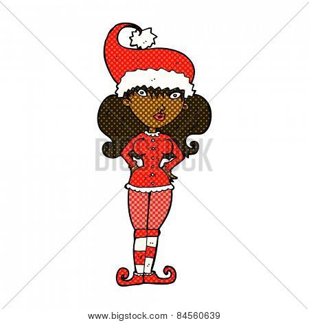 retro comic book style cartoon santa's helper woman