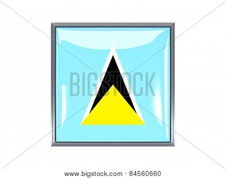 Square Icon With Flag Of Saint Lucia