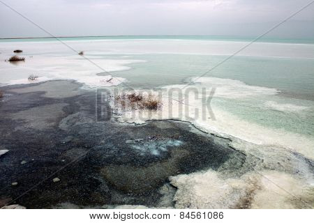 wide angle view of the dead sea