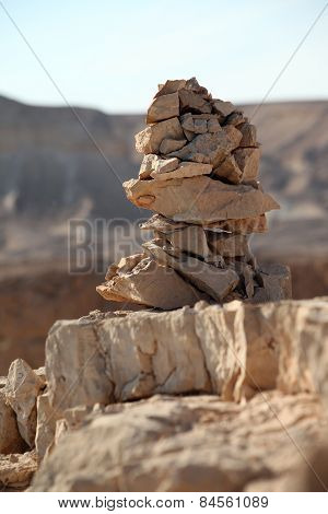 stacked stones in a rocky environment