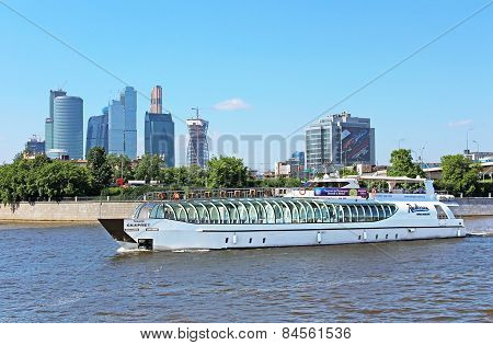 View Of Moscow River, Pleasure Boat And Moscow International Business Center, Russia