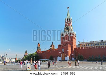 Red Square With Spasskaya Tower In Moscow, Russia
