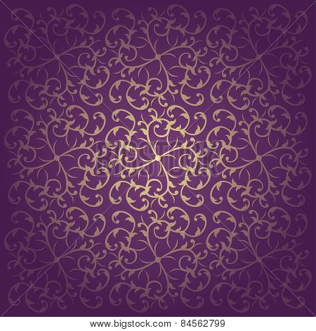 Floral baroque purple background vector