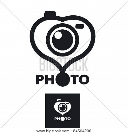 Vector Icon In The Form Of Heart For The Photographer