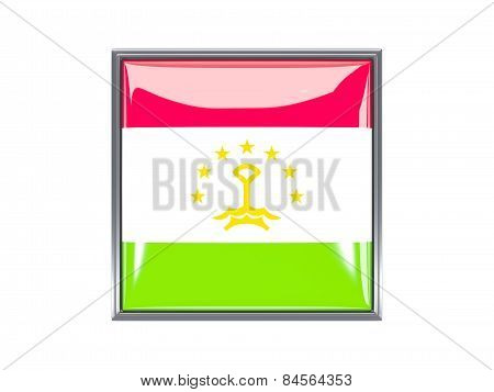 Square Icon With Flag Of Tajikistan