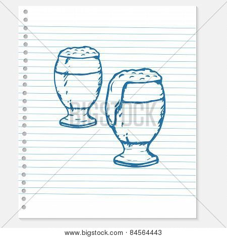 sketch of a beer