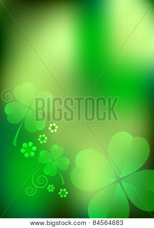 Holiday Card On St. Patrick's Day. March 17. Blurred Background With Shamrocks