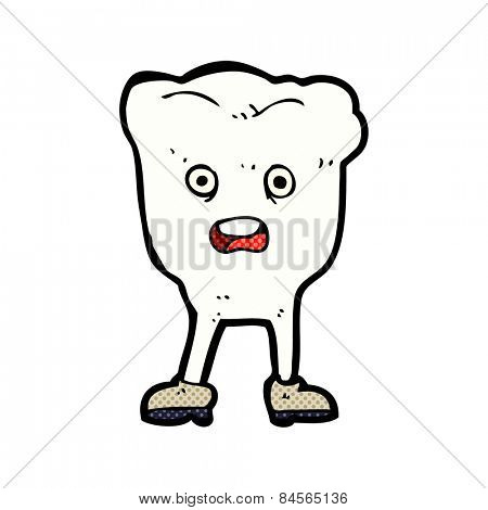 retro comic book style cartoon tooth looking afraid