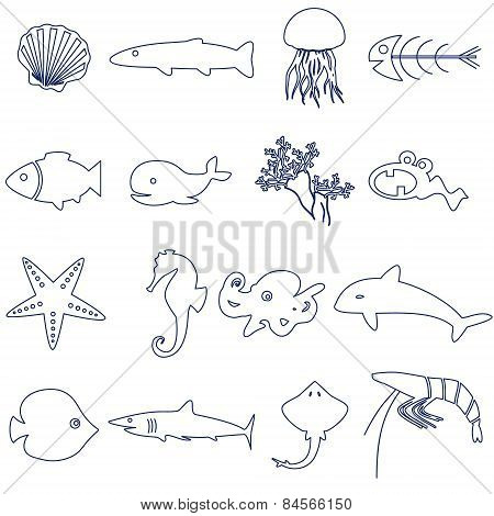 Fish And Sea Life Outline Icons Set Eps10