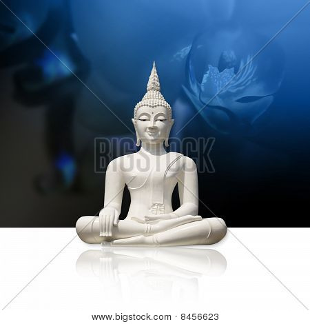 White Buddha, isolated against blue background (incl. clipping path)