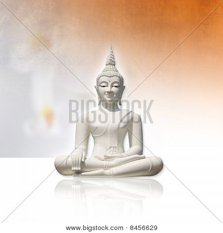 White Buddha, isolated against light grunge background (incl. clipping path)