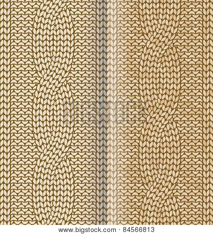Beige knitted pattern with braids