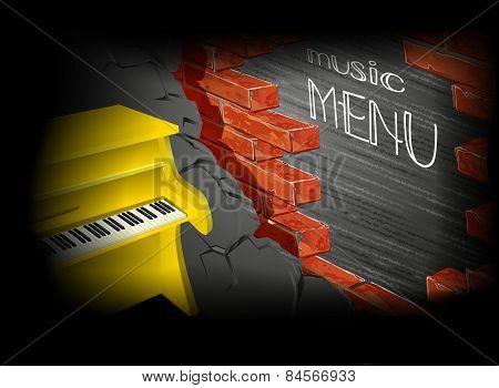 Music Menu Yellow Piano