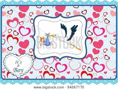Cartoon stork with baby boy card
