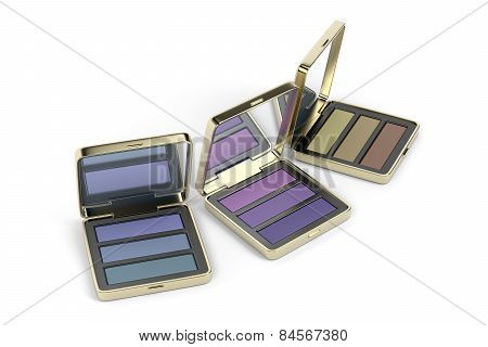 Eye Shadows In Gold Boxes