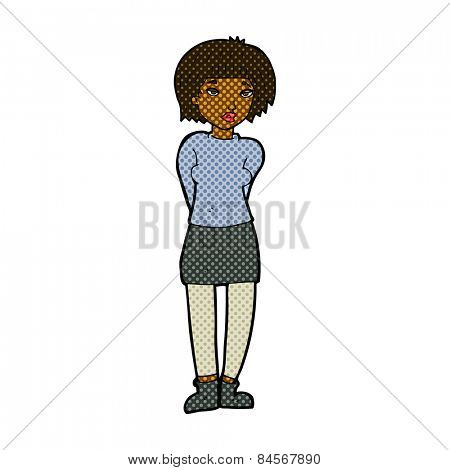 retro comic book style cartoon shy woman