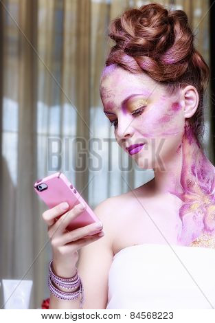 Beautiful Young Woman Taking Selfie. Girl Photographing Herself With Phone. Beauty Fashion. Eyelashe