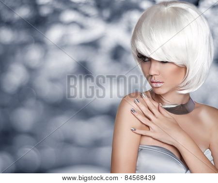 Fashion Blond Girl. Bob Hairstyle. White Short Hair. Beauty Portrait. Woman Over Grey Bokeh Backgrou