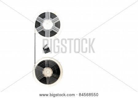 Vintage 8Mm Movie Reels And Little Clapper Board White Background