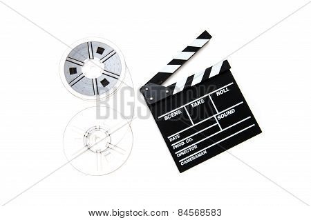 Vintage 8Mm Movie Reels And Clapper Board White Background