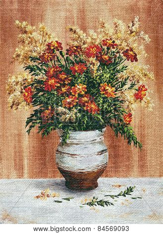 Painting Flowers Marigold in a Pot