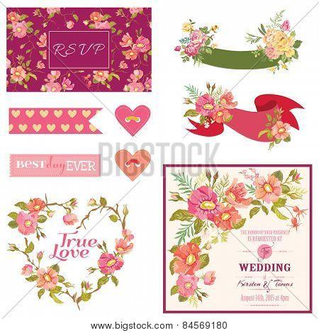 Floral Wedding Set - for Wedding, Bridal Shower, Party Decoration - in vector