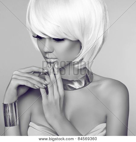 Fashion Beauty Blond Girl Portrait With White Short Hair. Face Close-up. Haircut. Hairstyle. Fringe.