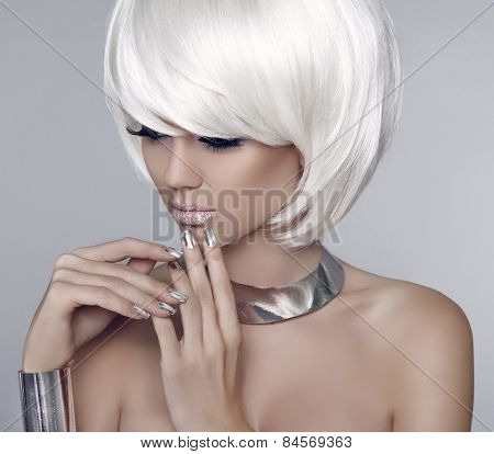 Fashion Model Girl Face. Bob White Short Hairstyle. Beauty Woman Make Up And Manicure.  Blonde Woman