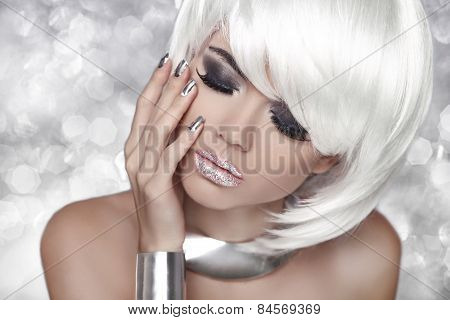 Fashion Blond Girl. Smoky Eye Makeup. Beauty Portrait Woman Over Bokeh Grey Background. White Short