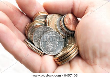 American Coins In Hand