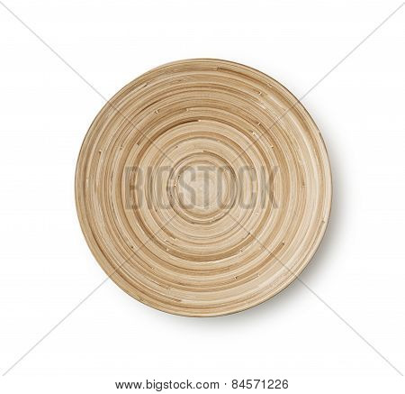Empty Wooden Bamboo Bowl