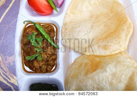 Indian Spicy Dish, Chole Bhature Topping Of Green Chili