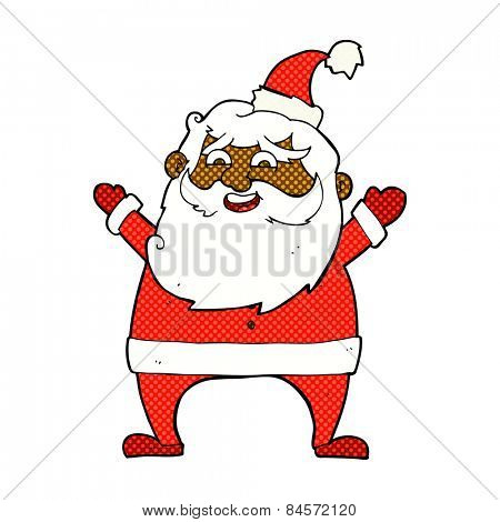 jolly santa retro comic book style cartoon