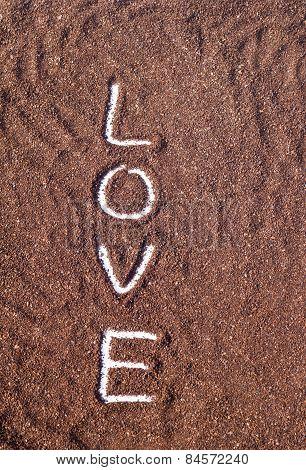 love text on powder