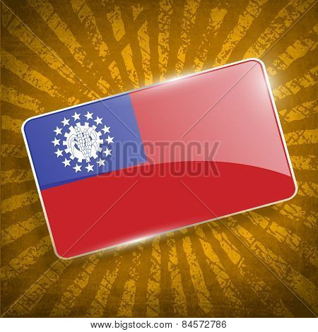 Flag Of Myanmar Burma With Old Texture. Vector