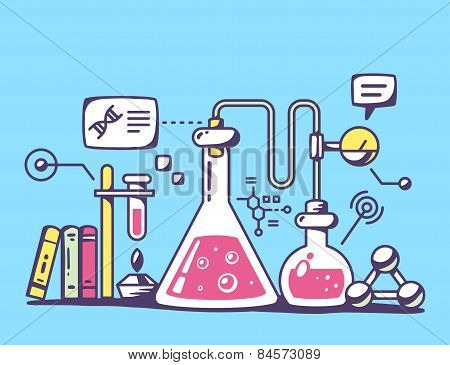 Vector Illustration Of Red And Yellow Chemical Laboratory Flasks On Blue Background.
