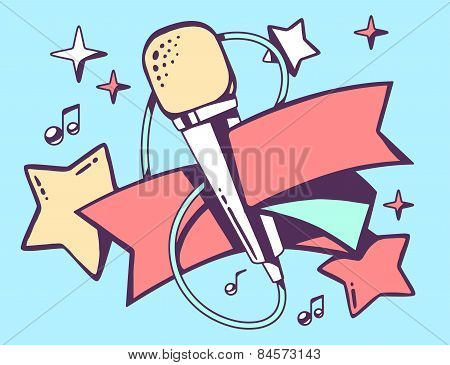 Vector Illustration Of Red And Yellow Microphone With Ribbon On Blue Background