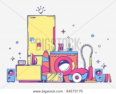 Vector Illustration Of Large Pile Of Bright Household Appliances Standing On Each Other On Light Gra