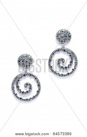 Earrings Helically On White Background